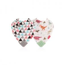 NUBY 牙膠紗布口水巾 (兩件裝) -- 恐龍 及 三角